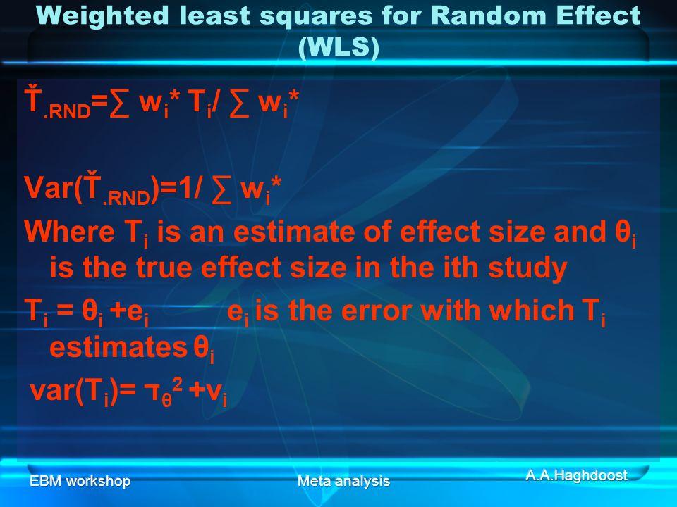 EBM workshopMeta analysis Weighted least squares for Random Effect (WLS) Ť.RND =∑ w i * T i / ∑ w i * Var(Ť.RND )=1/ ∑ w i * Where T i is an estimate of effect size and θ i is the true effect size in the ith study T i = θ i +e i e i is the error with which T i estimates θ i var(T i )= ד θ 2 +v i