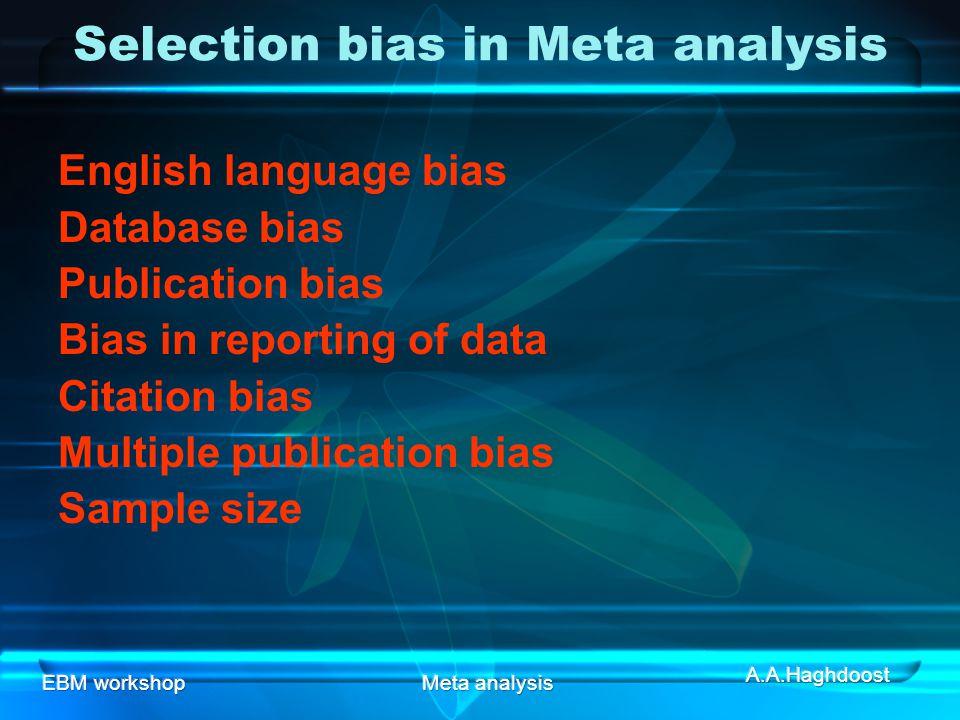 EBM workshopMeta analysis Selection bias in Meta analysis English language bias Database bias Publication bias Bias in reporting of data Citation bias Multiple publication bias Sample size