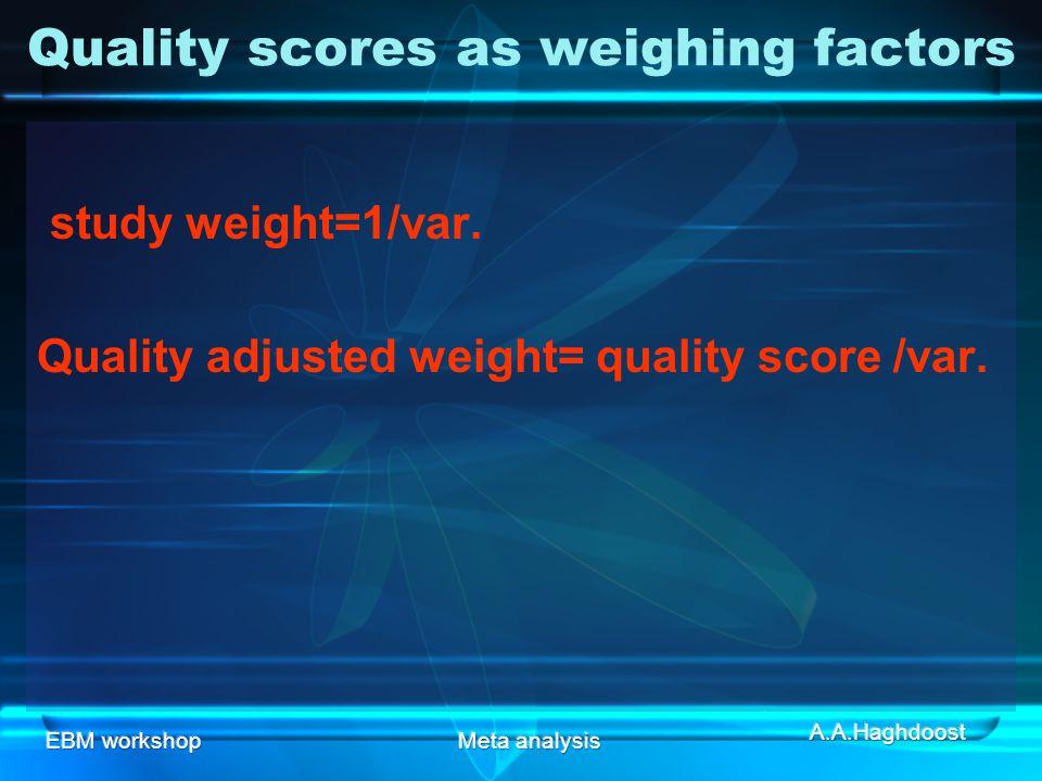 EBM workshopMeta analysis Quality scores as weighing factors study weight=1/var.