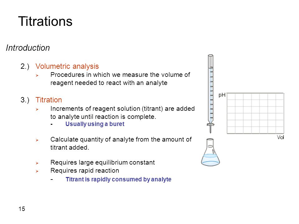 Titrations Introduction 2.)Volumetric analysis  Procedures in which we measure the volume of reagent needed to react with an analyte 3.)Titration  Increments of reagent solution (titrant) are added to analyte until reaction is complete.