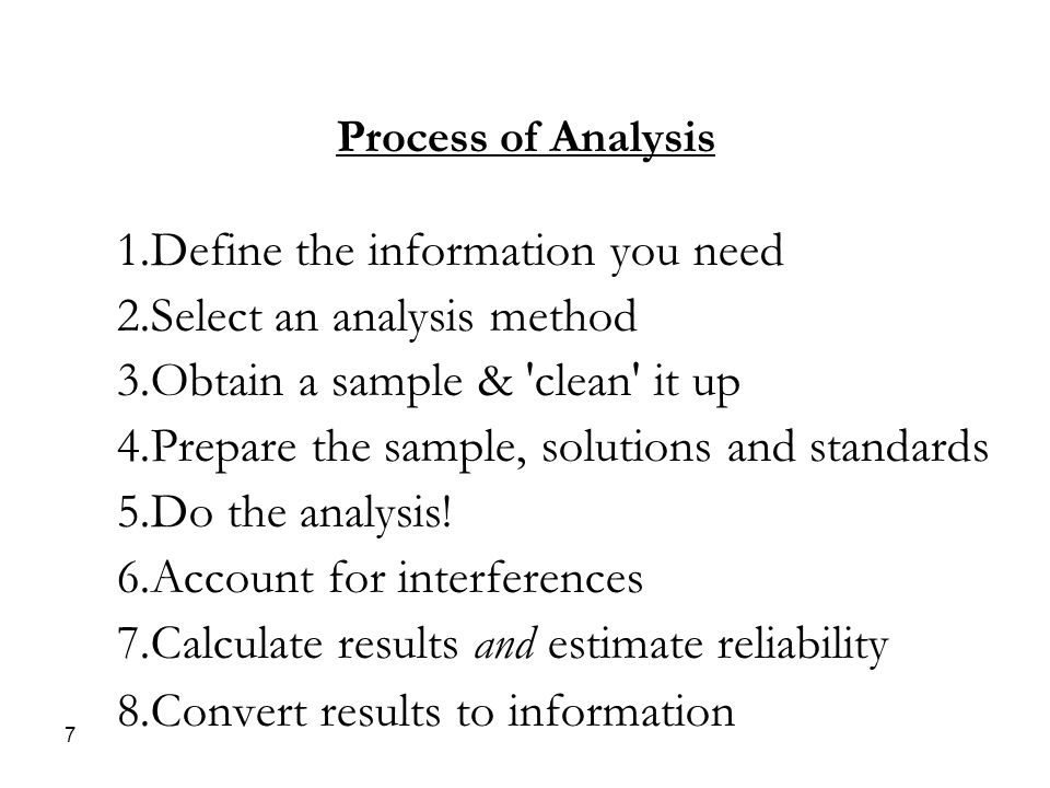 Process of Analysis 1.Define the information you need 2.Select an analysis method 3.Obtain a sample & clean it up 4.Prepare the sample, solutions and standards 5.Do the analysis.