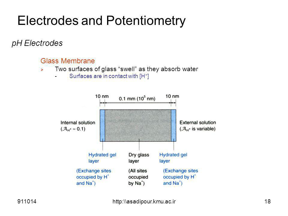 "Electrodes and Potentiometry pH Electrodes Glass Membrane  Two surfaces of glass ""swell"" as they absorb water - Surfaces are in contact with [H + ] 9"