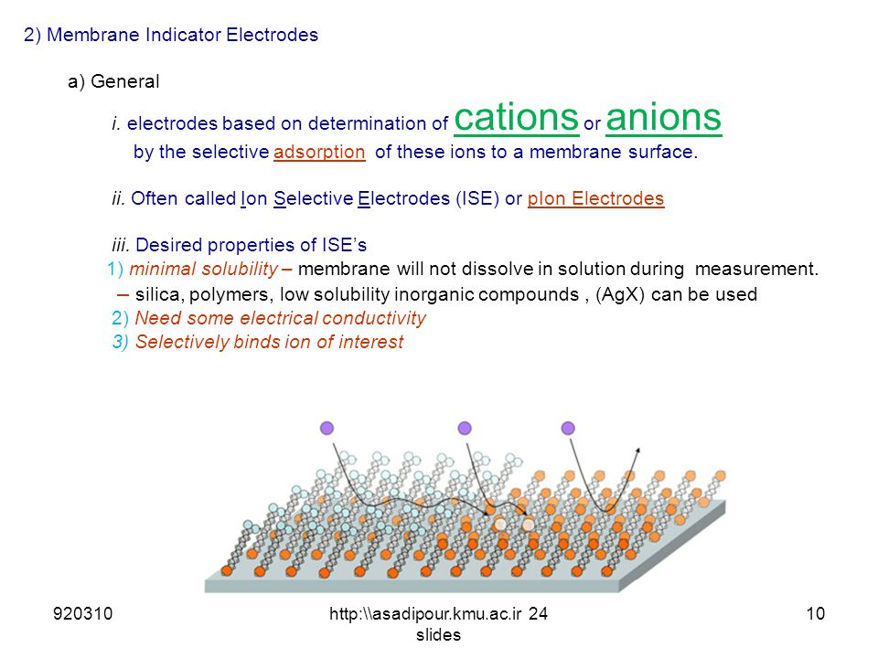 2) Membrane Indicator Electrodes a) General i. electrodes based on determination of cations or anions by the selective adsorption of these ions to a m