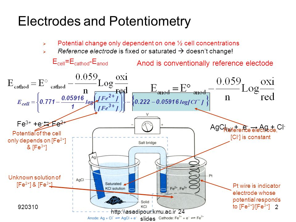 Electrodes and Potentiometry  Potential change only dependent on one ½ cell concentrations  Reference electrode is fixed or saturated  doesn't change.