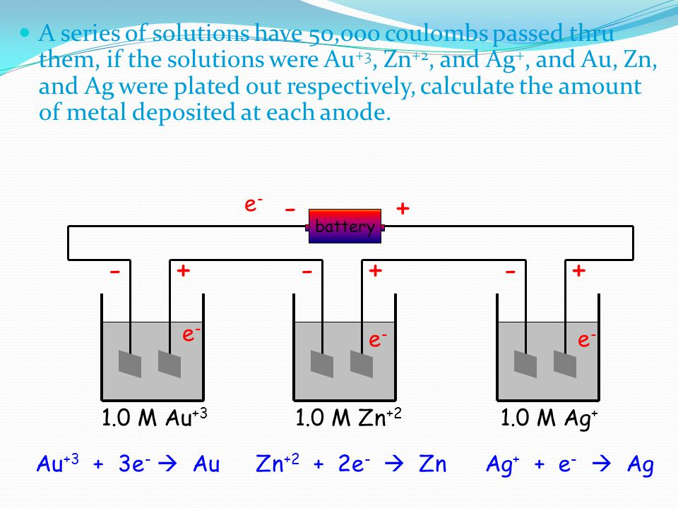 A series of solutions have 50,000 coulombs passed thru them, if the solutions were Au +3, Zn +2, and Ag +, and Au, Zn, and Ag were plated out respecti