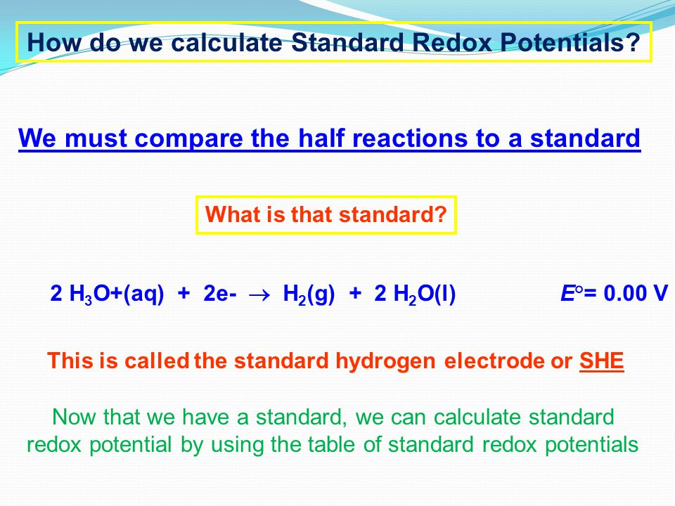 How do we calculate Standard Redox Potentials? We must compare the half reactions to a standard What is that standard? 2 H 3 O+(aq) + 2e-  H 2 (g) +