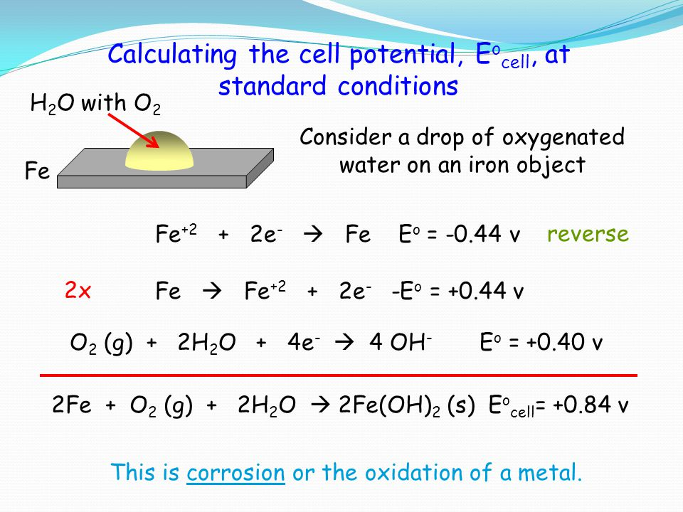 Calculating the cell potential, E o cell, at standard conditions Fe +2 + 2e -  Fe E o = -0.44 v O 2 (g) + 2H 2 O + 4e -  4 OH - E o = +0.40 v This i