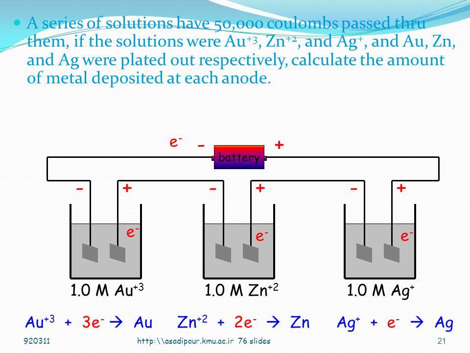 20 Ag + + e -  Ag 1.00 mole e - = 1.00 mole Ag = 107.87 g Ag 107.87 g Ag/mole e - 0.001118 g Ag/coul = 96,485 coul/mole e - 1 Faraday ( F ) mole e - = Q/ F http:\\asadipour.kmu.ac.ir 76 slides920311 1C=1AS /// 1J=1CV