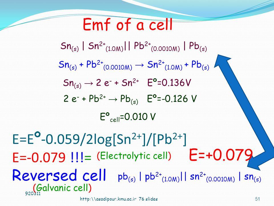50 Ni (s) + Sn 2+ → Ni 2+ + Sn (s) Eº= 0.090 V http:\asadipour.kmu.ac.ir 76 slides Ni (s) | Ni 2+ (0.600M) || Sn 2+ (0.300M) | Sn (s) Emf of a cell 920311