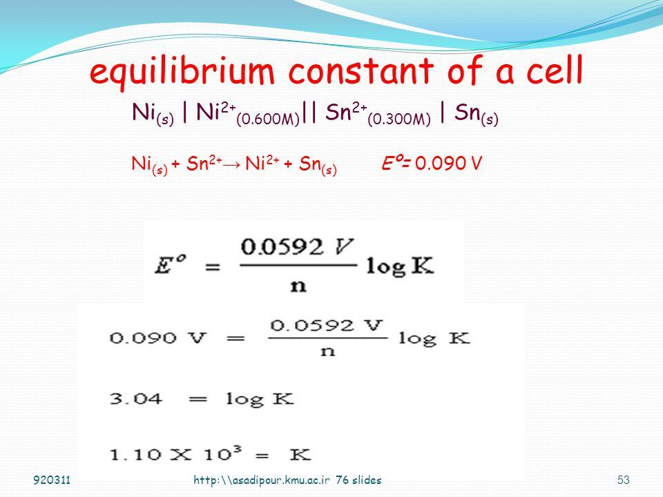 52 equilibrium constant of a cell at equilibrium E = 0 Nernst Equation: http:\\asadipour.kmu.ac.ir 76 slides E = E o - 0.0591 log B n A 920311 A BA B