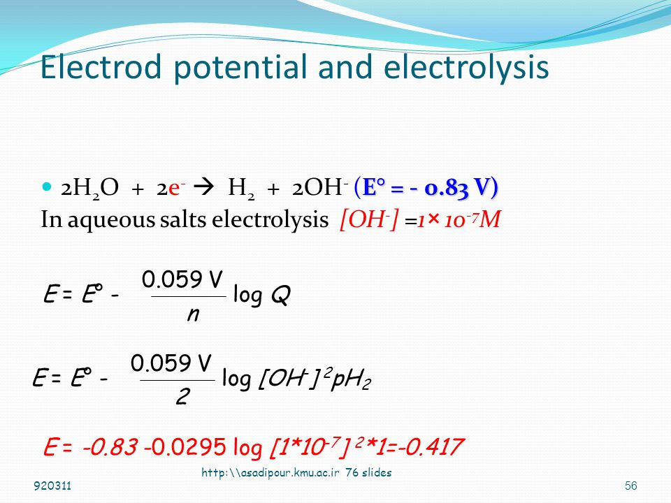 55 Electrod potential and electrolysis Theoritical emf of a Voltaic cell is maximum voltage. (Practically is less) Theoritical emf of an electrolysis