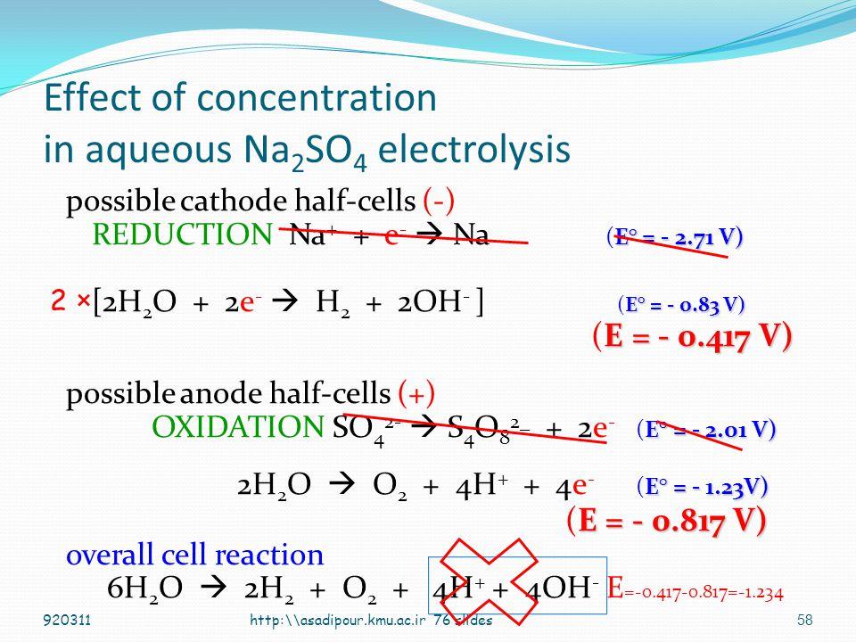 57 Electrod potential and electrolysis E° = - 1.23V) 2H 2 O  O 2 + 4H + + 4e - (E° = - 1.23V) In aqueous salts electrolysis [H + ] =1× 10 -7 M http:\\asadipour.kmu.ac.ir 76 slides E = E° - log Q n 0.059 V E = E° - log [H + ] 4 pO 2 4 0.059 V E = -1.23 -0.01475 log [1*10 -7 ] 4 *1=-0.817 920311