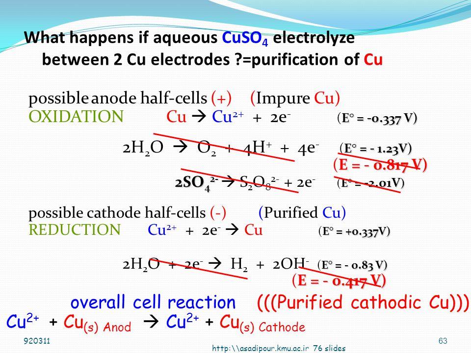 62 Cu CuSO 4 Cu Cu +2 + 2e -  CuCu  Cu +2 + 2e - What happened at each electrode.