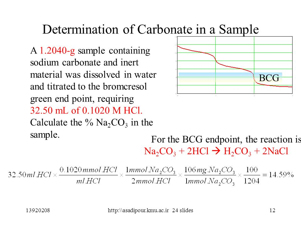 12 Determination of Carbonate in a Sample A 1.2040-g sample containing sodium carbonate and inert material was dissolved in water and titrated to the bromcresol green end point, requiring 32.50 mL of 0.1020 M HCl.