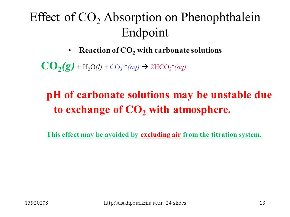 13 Effect of CO 2 Absorption on Phenophthalein Endpoint Reaction of CO 2 with carbonate solutions CO 2 (g) + H 2 O(l) + CO 3 2  (aq)  2HCO 3  (aq) pH of carbonate solutions may be unstable due to exchange of CO 2 with atmosphere.