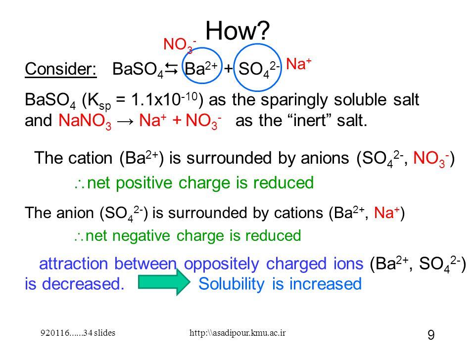 920116......34 slides 9 Consider: BaSO 4  Ba 2+ + SO 4 2- BaSO 4 (K sp = 1.1x10 -10 ) as the sparingly soluble salt and NaNO 3 → Na + + NO 3 - as the inert salt.