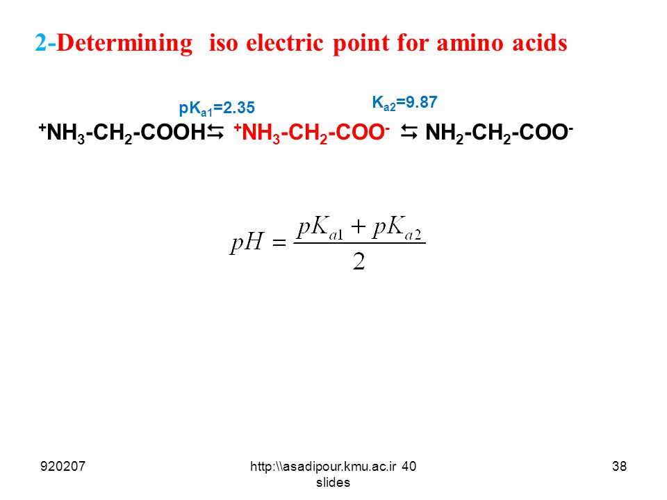 2-Determining iso electric point for amino acids 92020738http:\\asadipour.kmu.ac.ir 40 slides + NH 3 -CH 2 -COOH  + NH 3 -CH 2 -COO -  NH 2 -CH 2 -C