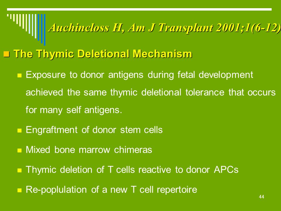44 Auchincloss H, Am J Transplant 2001;1(6-12) The Thymic Deletional Mechanism The Thymic Deletional Mechanism Exposure to donor antigens during fetal