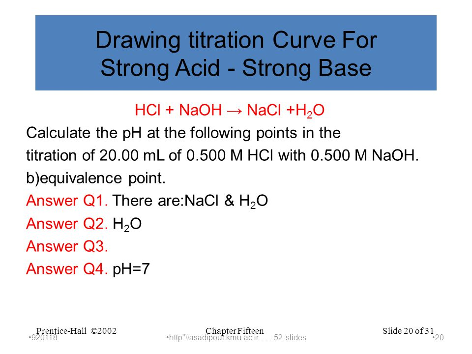 Chapter FifteenPrentice-Hall ©2002Slide 20 of 31 Drawing titration Curve For Strong Acid - Strong Base HCl + NaOH → NaCl +H 2 O Calculate the pH at the following points in the titration of 20.00 mL of 0.500 M HCl with 0.500 M NaOH.