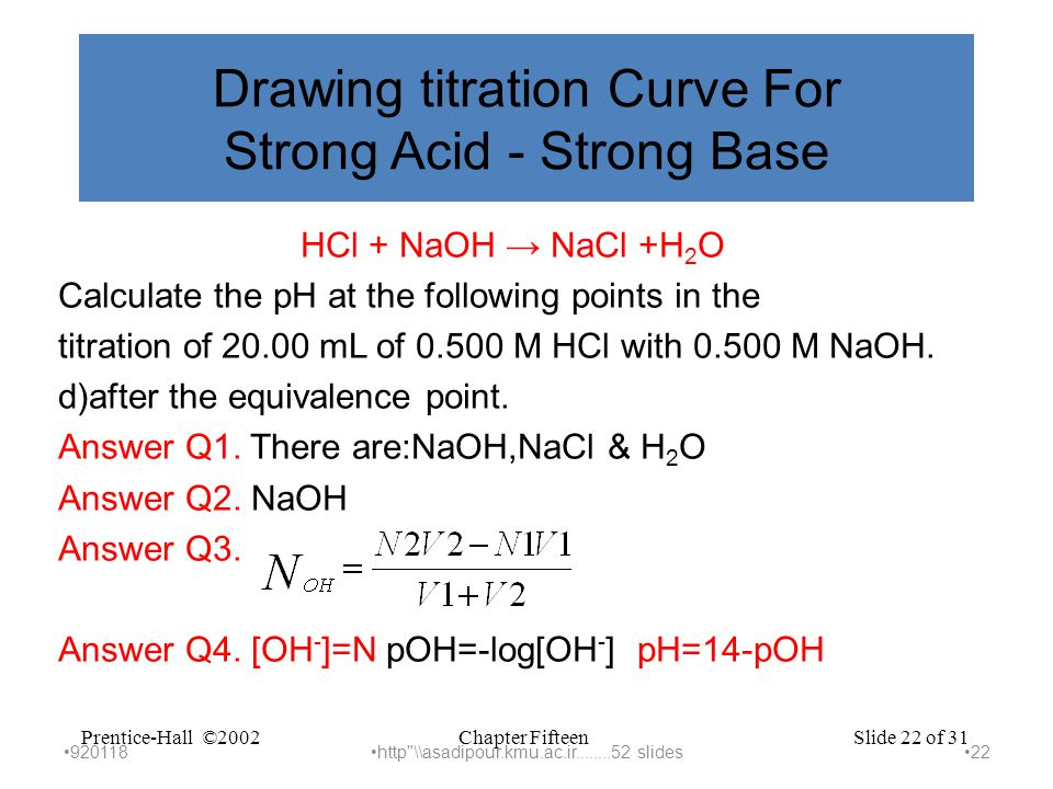 Chapter FifteenPrentice-Hall ©2002Slide 22 of 31 Drawing titration Curve For Strong Acid - Strong Base HCl + NaOH → NaCl +H 2 O Calculate the pH at the following points in the titration of 20.00 mL of 0.500 M HCl with 0.500 M NaOH.