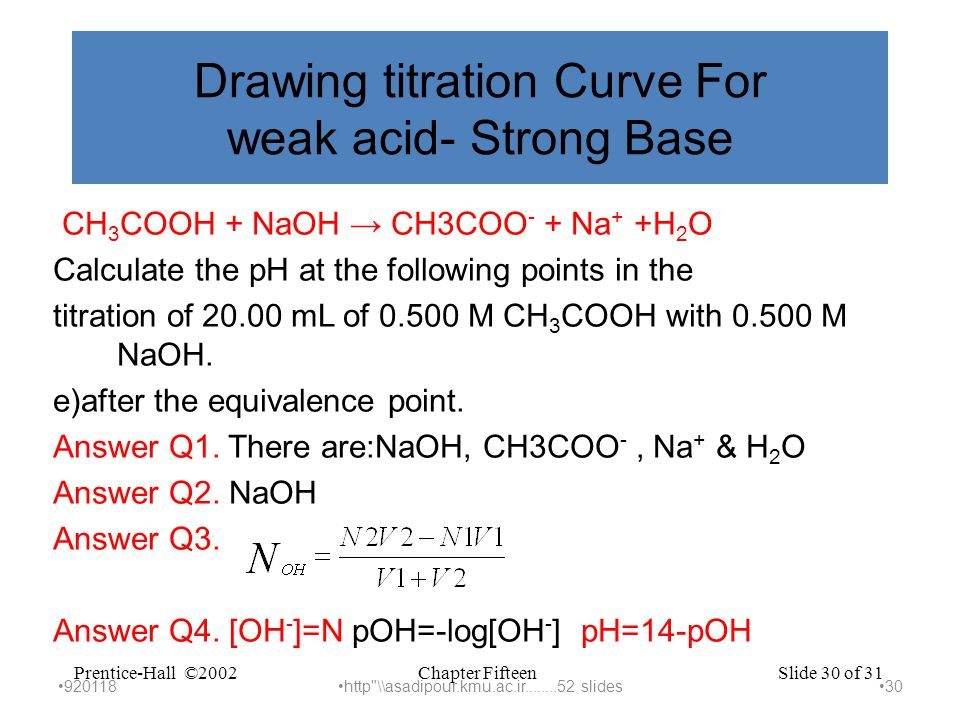 Chapter FifteenPrentice-Hall ©2002Slide 30 of 31 Drawing titration Curve For weak acid- Strong Base CH 3 COOH + NaOH → CH3COO - + Na + +H 2 O Calculate the pH at the following points in the titration of 20.00 mL of 0.500 M CH 3 COOH with 0.500 M NaOH.