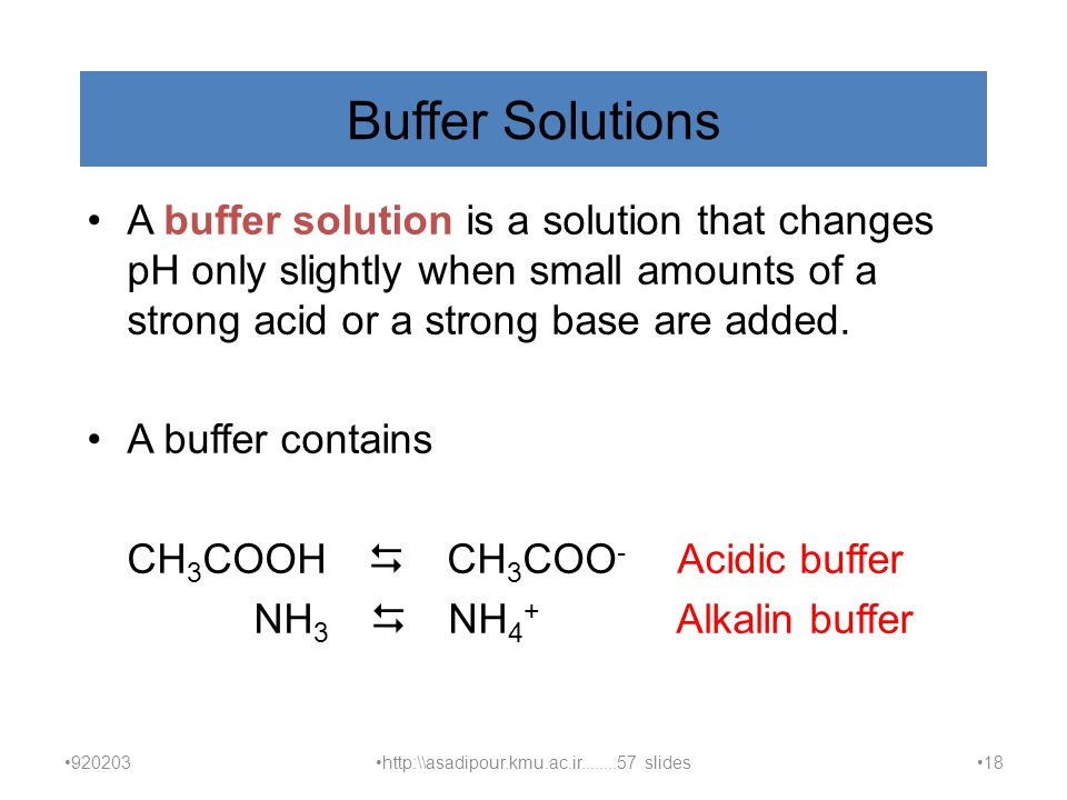 Buffer Solutions A buffer solution is a solution that changes pH only slightly when small amounts of a strong acid or a strong base are added.