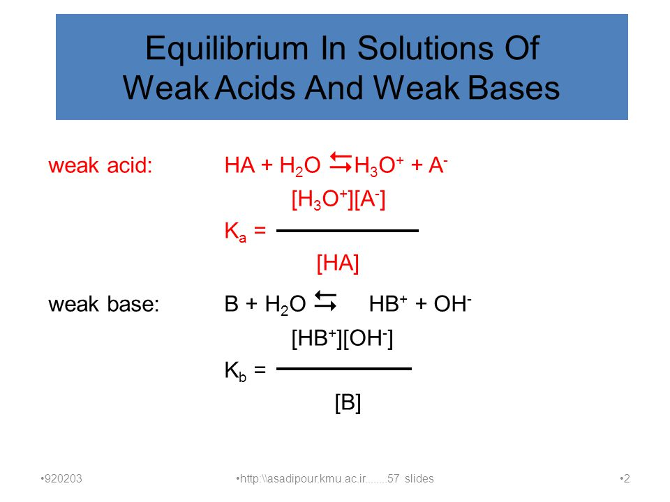 Equilibrium In Solutions Of Weak Acids And Weak Bases weak acid:HA + H 2 O  H 3 O + + A - [H 3 O + ][A - ] K a = [HA] weak base:B + H 2 O  HB + + OH - [HB + ][OH - ] K b = [B] 920203 http:\\asadipour.kmu.ac.ir........57 slides 2