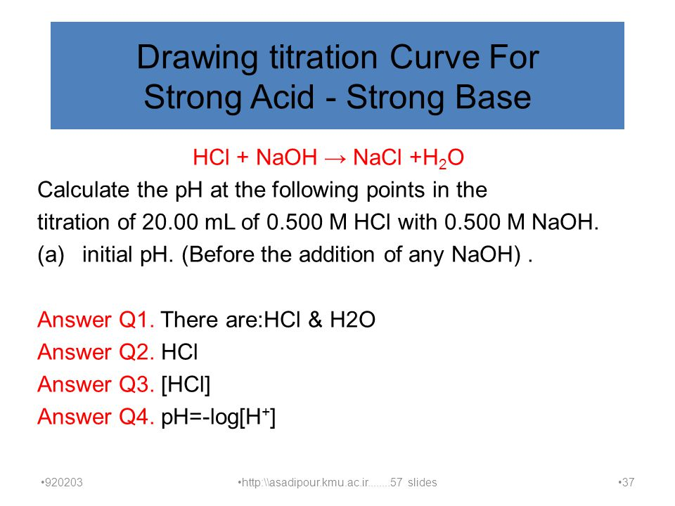 Drawing titration Curve For Strong Acid - Strong Base HCl + NaOH → NaCl +H 2 O Calculate the pH at the following points in the titration of 20.00 mL of 0.500 M HCl with 0.500 M NaOH.