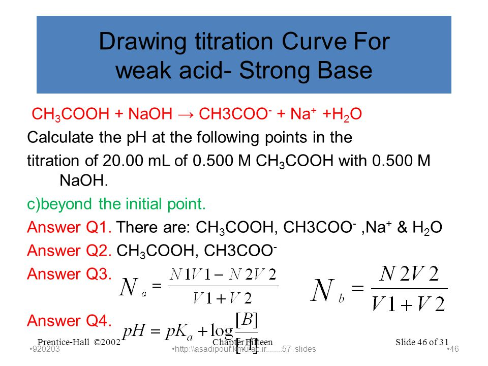 Chapter FifteenPrentice-Hall ©2002Slide 46 of 31 Drawing titration Curve For weak acid- Strong Base CH 3 COOH + NaOH → CH3COO - + Na + +H 2 O Calculate the pH at the following points in the titration of 20.00 mL of 0.500 M CH 3 COOH with 0.500 M NaOH.