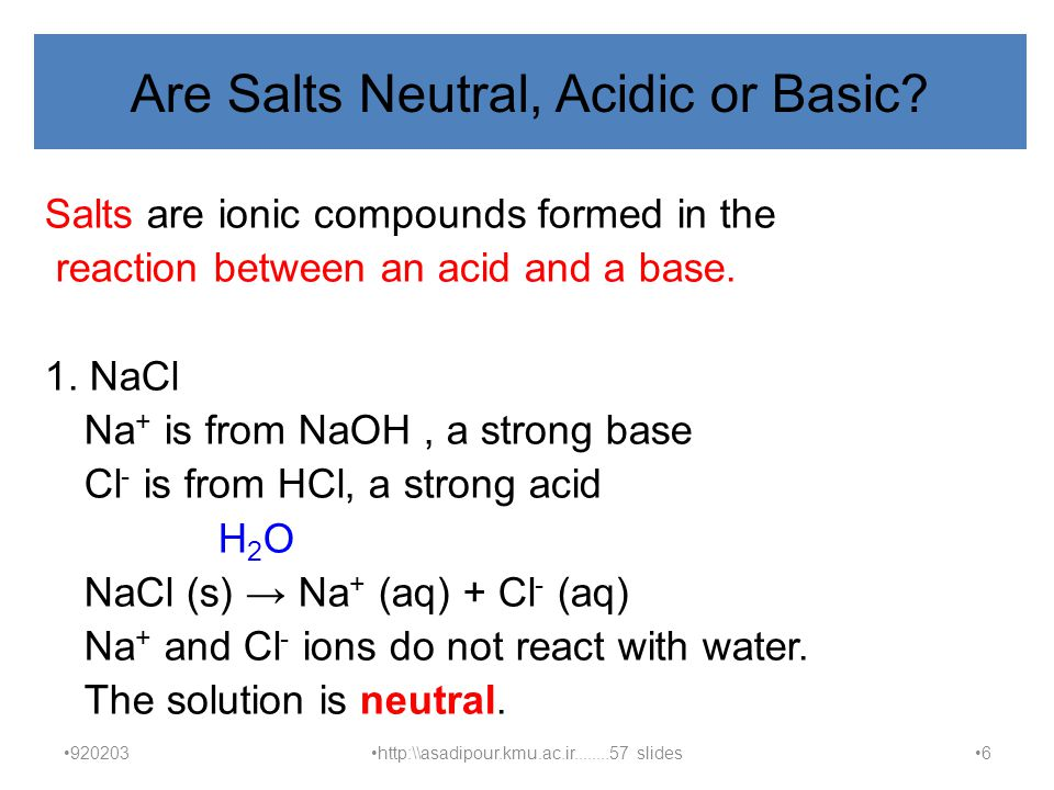 Are Salts Neutral, Acidic or Basic.