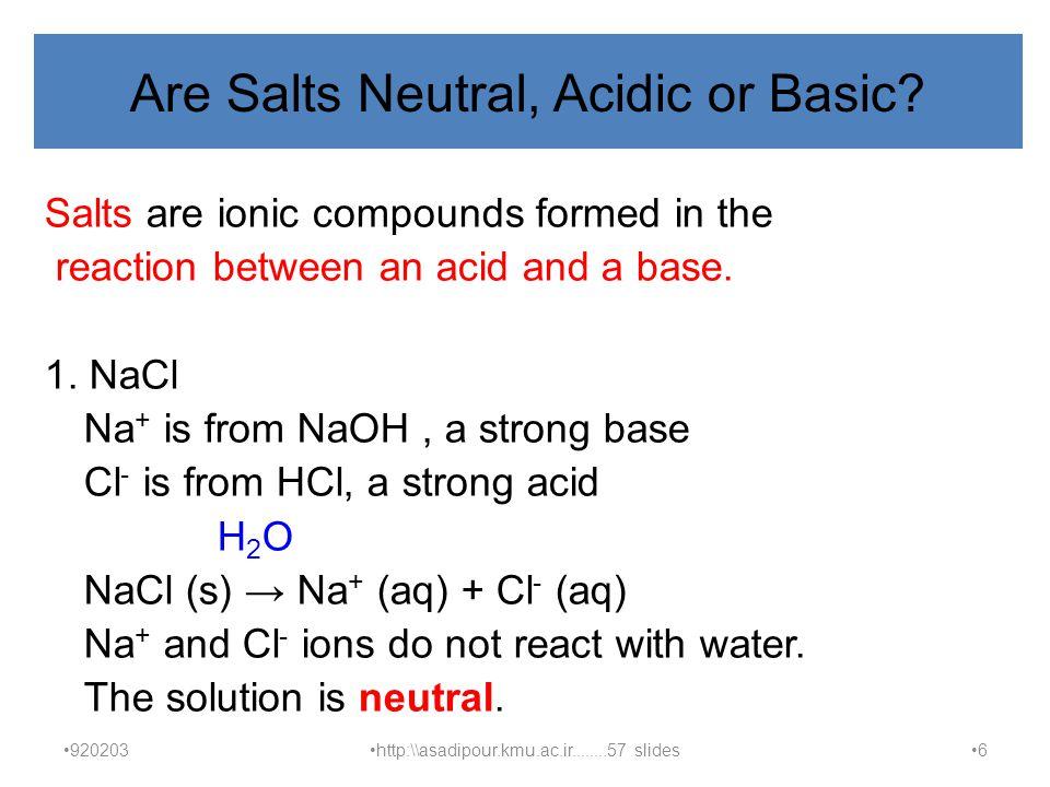 Are Salts Neutral, Acidic or Basic .