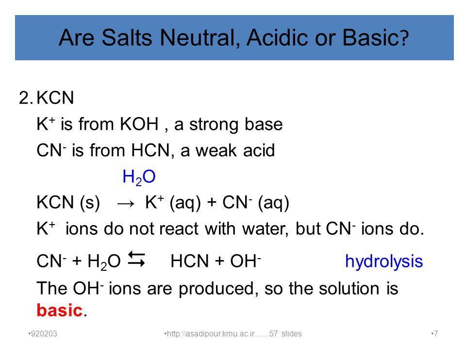 Are Salts Neutral, Acidic or Basic.
