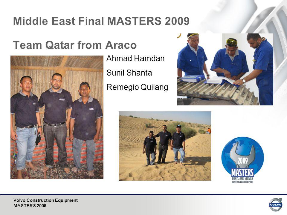 Volvo Construction Equipment MASTERS 2009 Middle East Final MASTERS 2009 Team Qatar from Araco Ahmad Hamdan Sunil Shanta Remegio Quilang