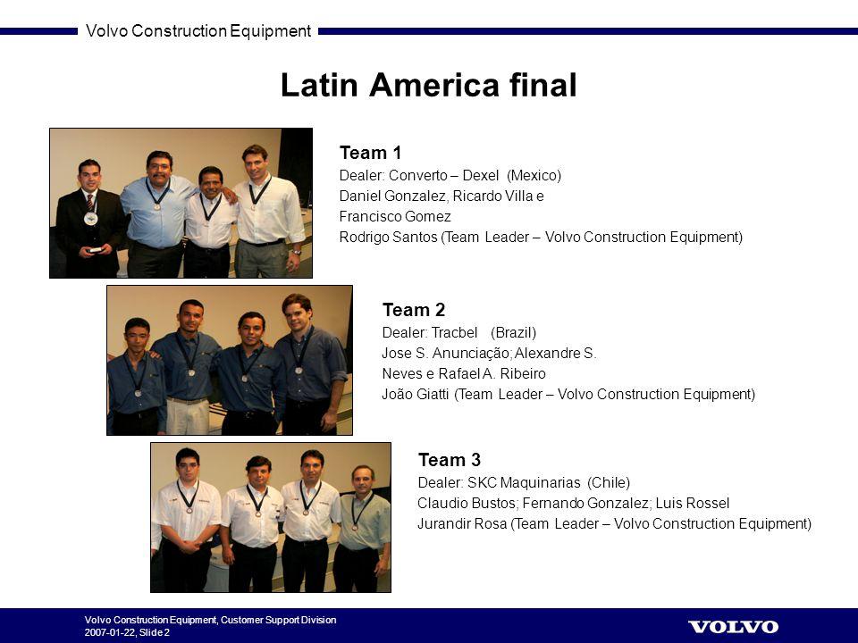 Volvo Construction Equipment Volvo Construction Equipment, Customer Support Division 2007-01-22, Slide 2 Latin America final Team 1 Dealer: Converto –