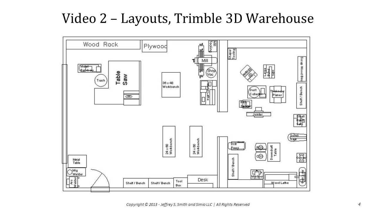 Video 2 – Layouts, Trimble 3D Warehouse 4 Copyright © 2013 - Jeffrey S.