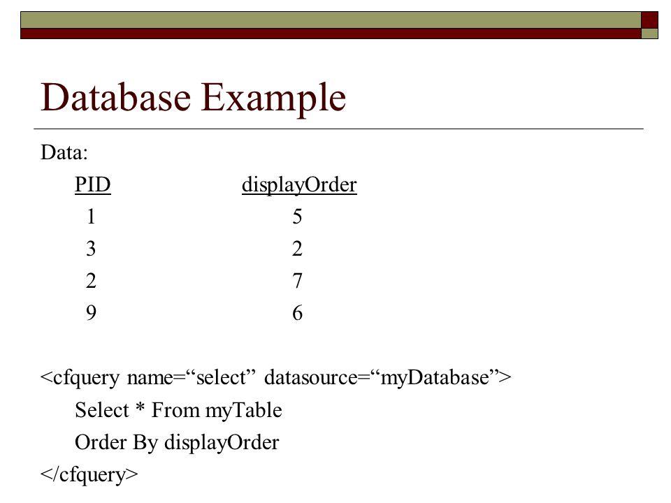 Database Example Data: PIDdisplayOrder 1 5 3 2 2 7 9 6 Select * From myTable Order By displayOrder