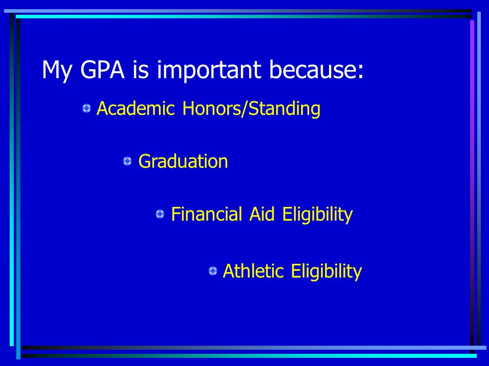 My GPA is important because: Financial Aid Eligibility Academic Honors/Standing Athletic Eligibility Graduation