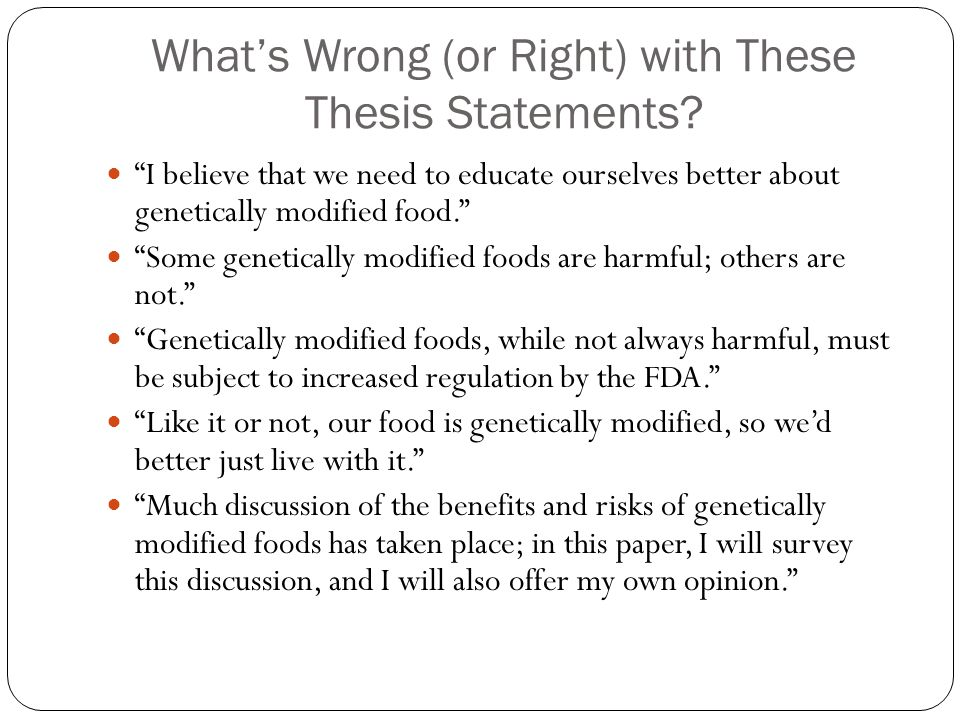 What's Wrong (or Right) with These Thesis Statements.