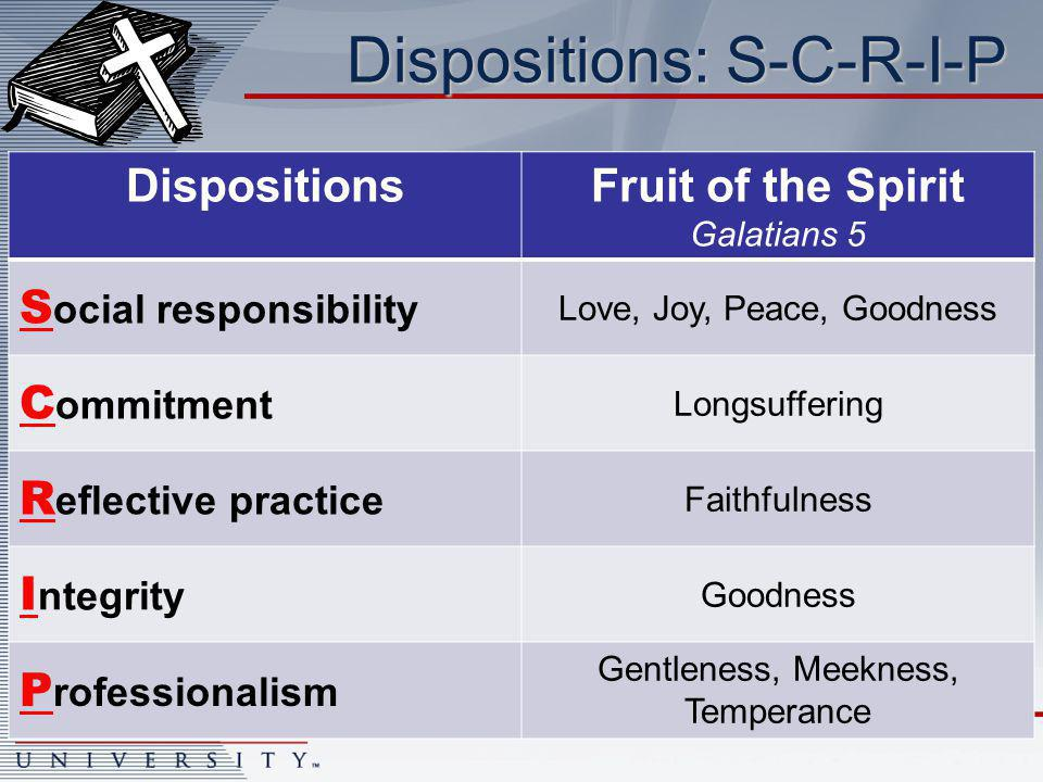 Dispositions: S-C-R-I-P DispositionsFruit of the Spirit Galatians 5 S ocial responsibility Love, Joy, Peace, Goodness C ommitment Longsuffering R eflective practice Faithfulness I ntegrity Goodness P rofessionalism Gentleness, Meekness, Temperance
