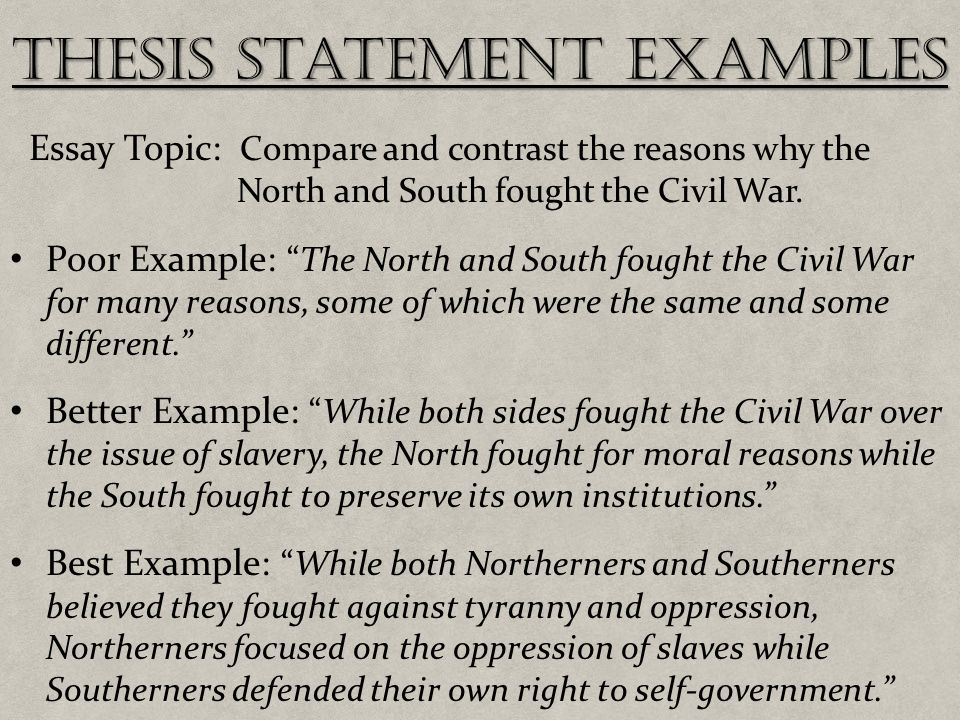 Compare And Contrast Thesis Statements