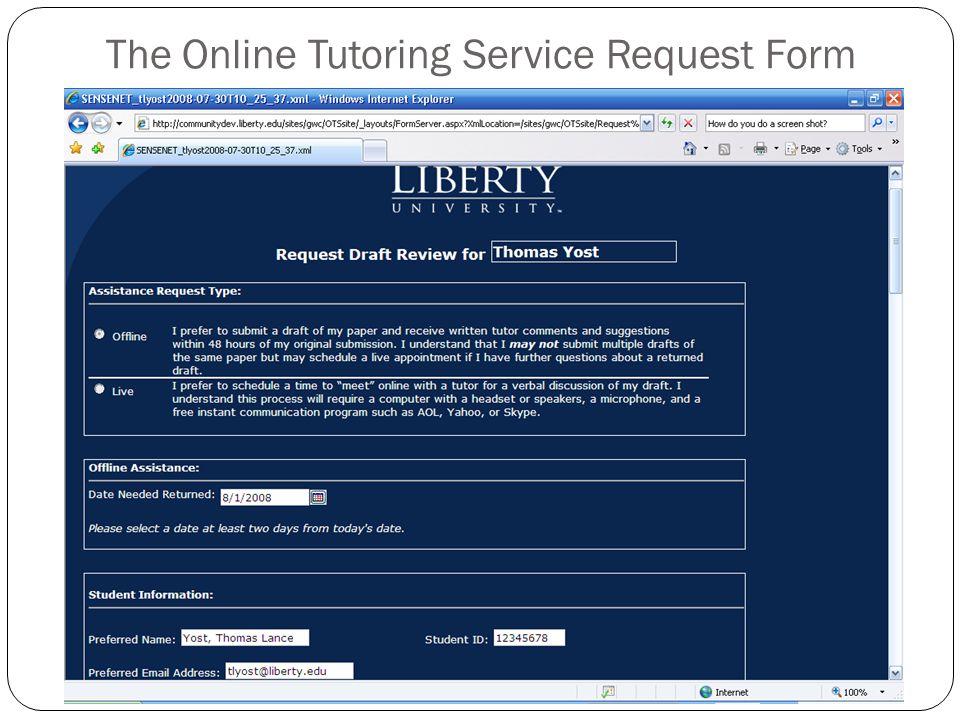 The Online Tutoring Service Request Form