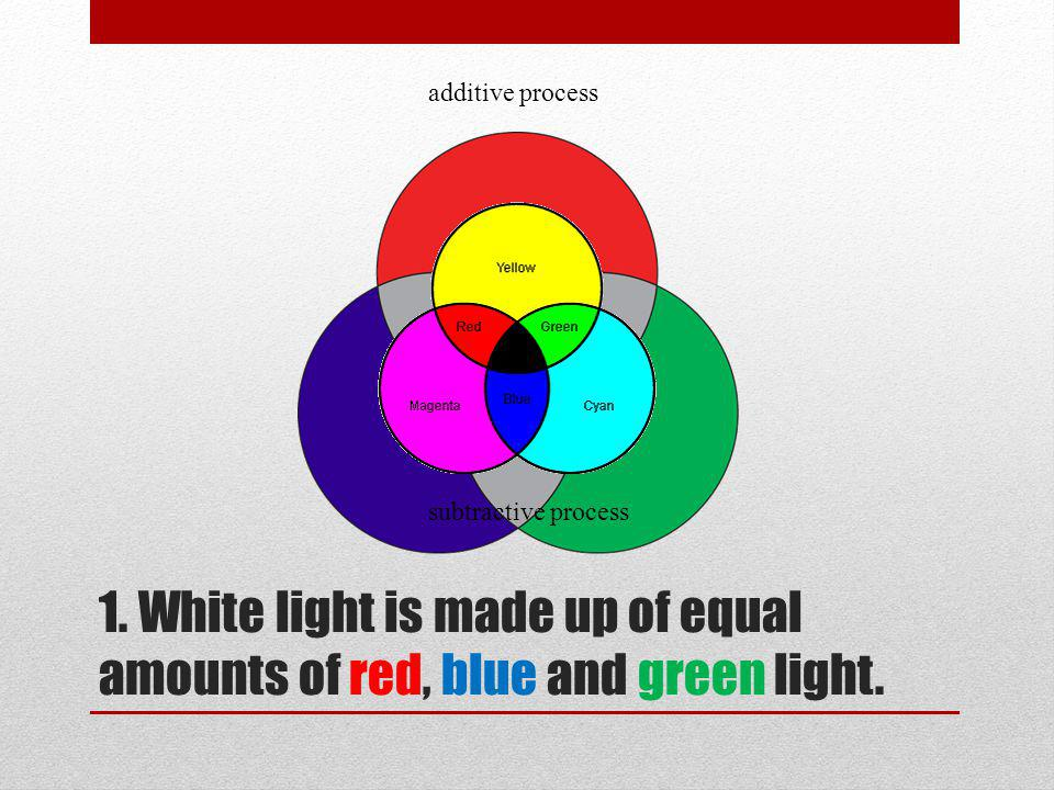 1.White light is made up of equal amounts of red, blue and green light.