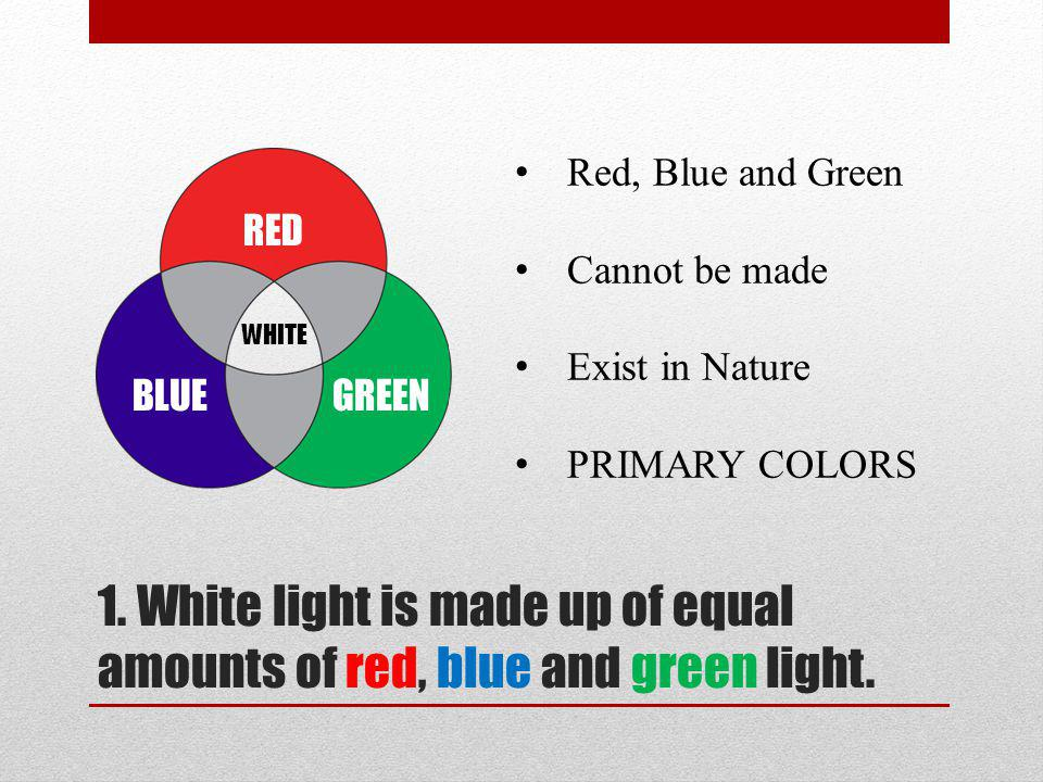 1. White light is made up of equal amounts of red, blue and green light.