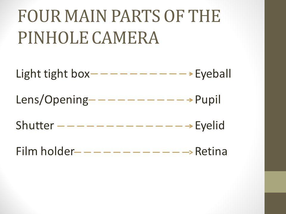 FOUR MAIN PARTS OF THE PINHOLE CAMERA Light tight box Lens/Opening Shutter Film holder Eyeball Pupil Eyelid Retina