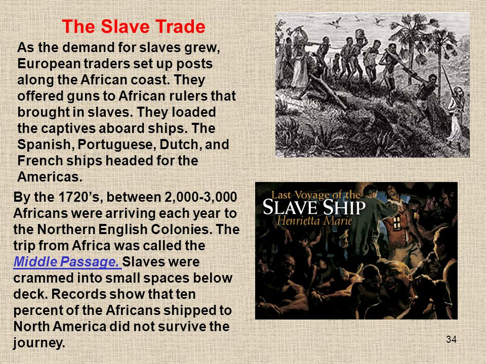 34 As the demand for slaves grew, European traders set up posts along the African coast. They offered guns to African rulers that brought in slaves. T