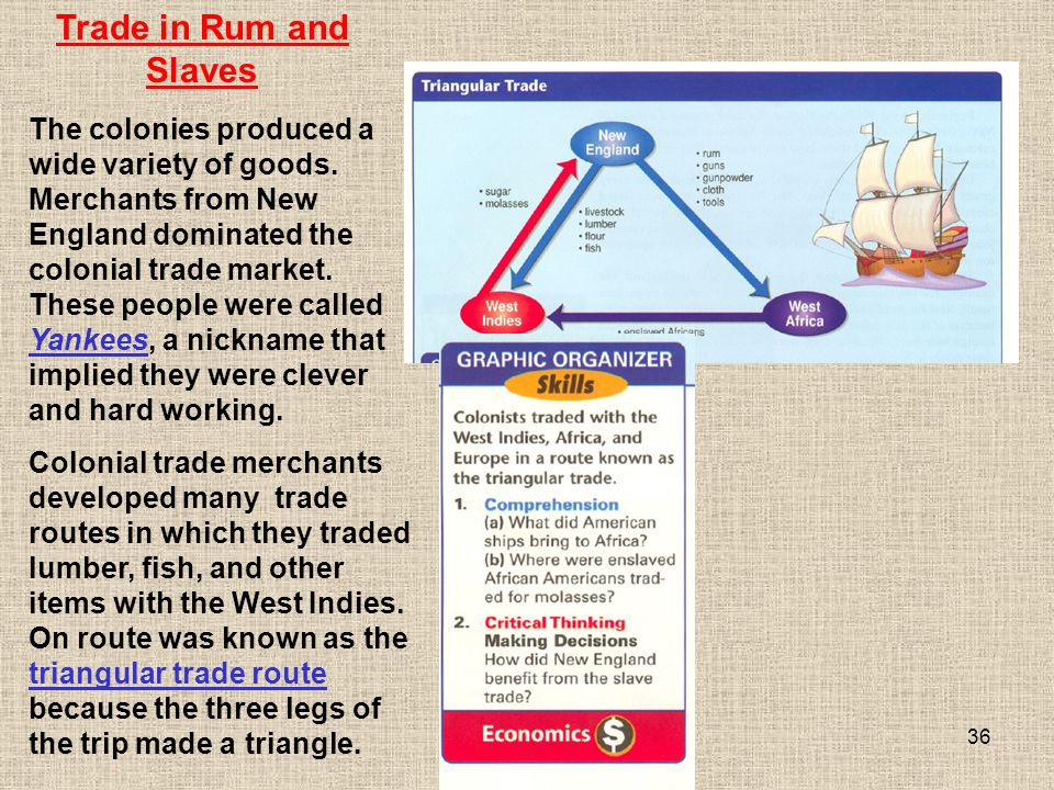 36 Colonial trade merchants developed many trade routes in which they traded lumber, fish, and other items with the West Indies. On route was known as