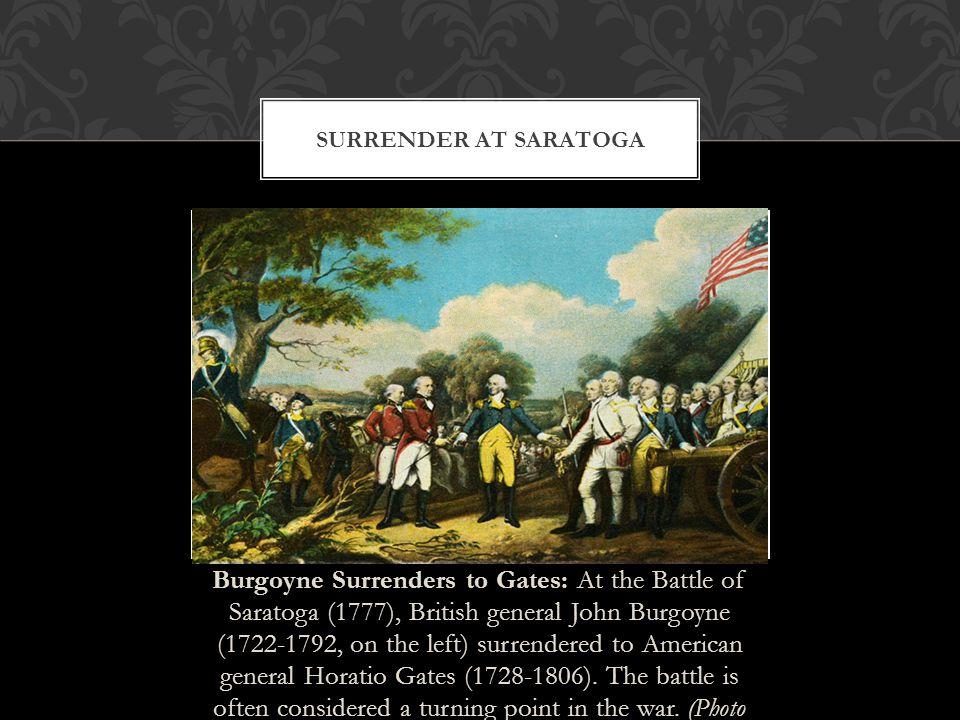 Burgoyne Surrenders to Gates: At the Battle of Saratoga (1777), British general John Burgoyne (1722-1792, on the left) surrendered to American general