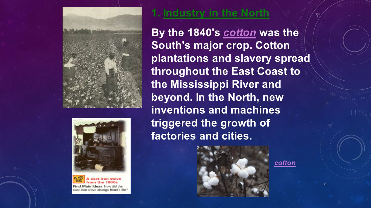 18 1. Industry in the North By the 1840's cotton was the South's major crop. Cotton plantations and slavery spread throughout the East Coast to the Mi