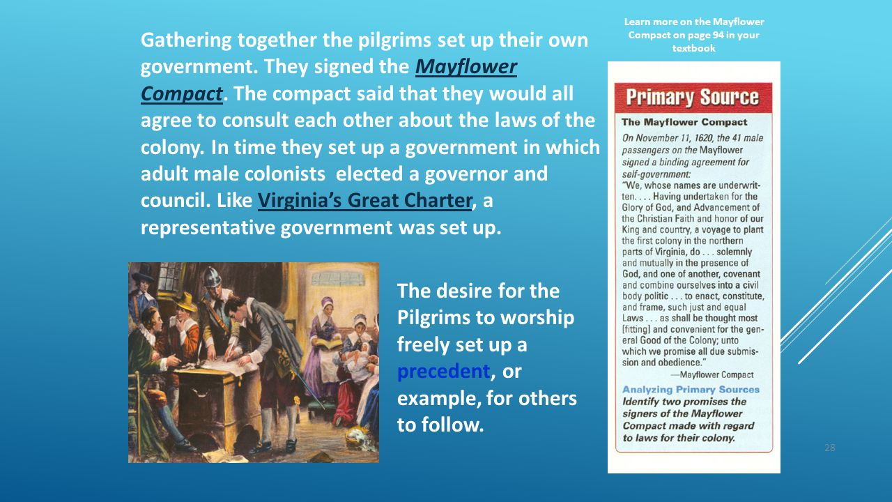 28 Gathering together the pilgrims set up their own government. They signed the Mayflower Compact. The compact said that they would all agree to consu