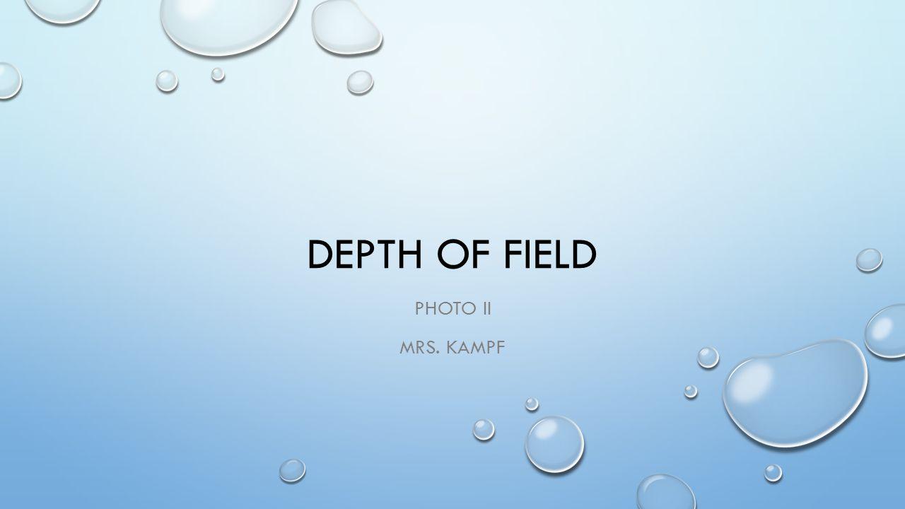 DEPTH OF FIELD PHOTO II MRS. KAMPF